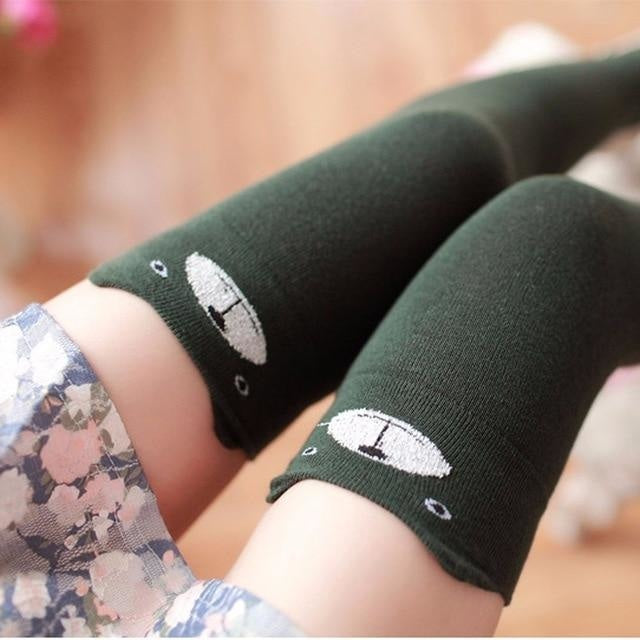 Cotton Animal Thigh Highs - Green Cat - stockings