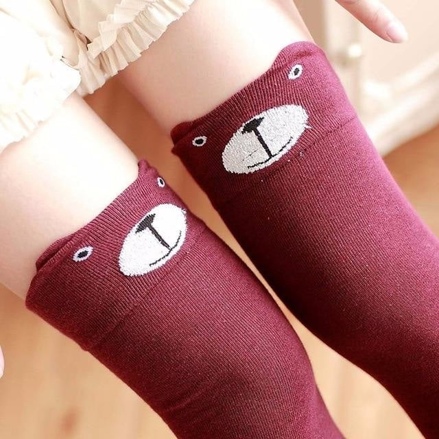 Cotton Animal Thigh Highs - Red Bear - stockings