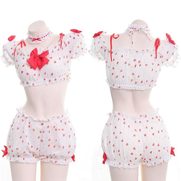 Sexy Strawberry Country Girl Lingerie Set Outfit Berries Bloomer Shorts Crop Top Cute Sexy Innocent