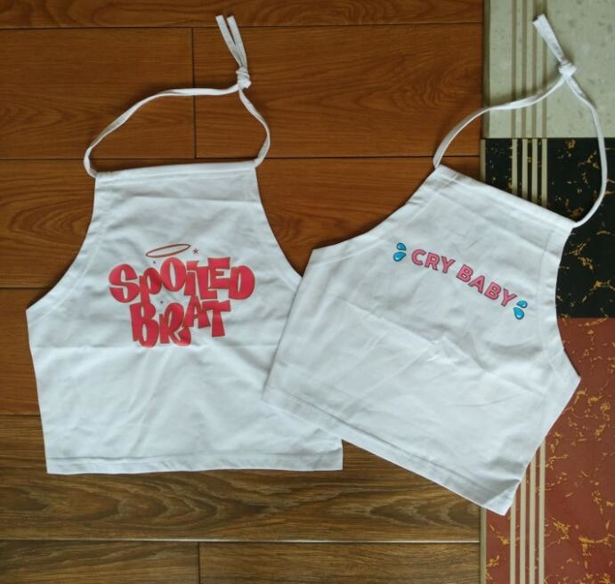 Spoiled Brat White Halter Top Cropped Shirt Tank Spaghetti Strap ABDL Age Play Fetish Kink