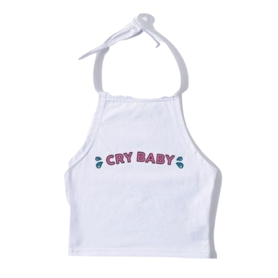 Cry Baby White Halter Top Cropped Shirt Tank Spaghetti Strap ABDL Age Play Fetish Kink
