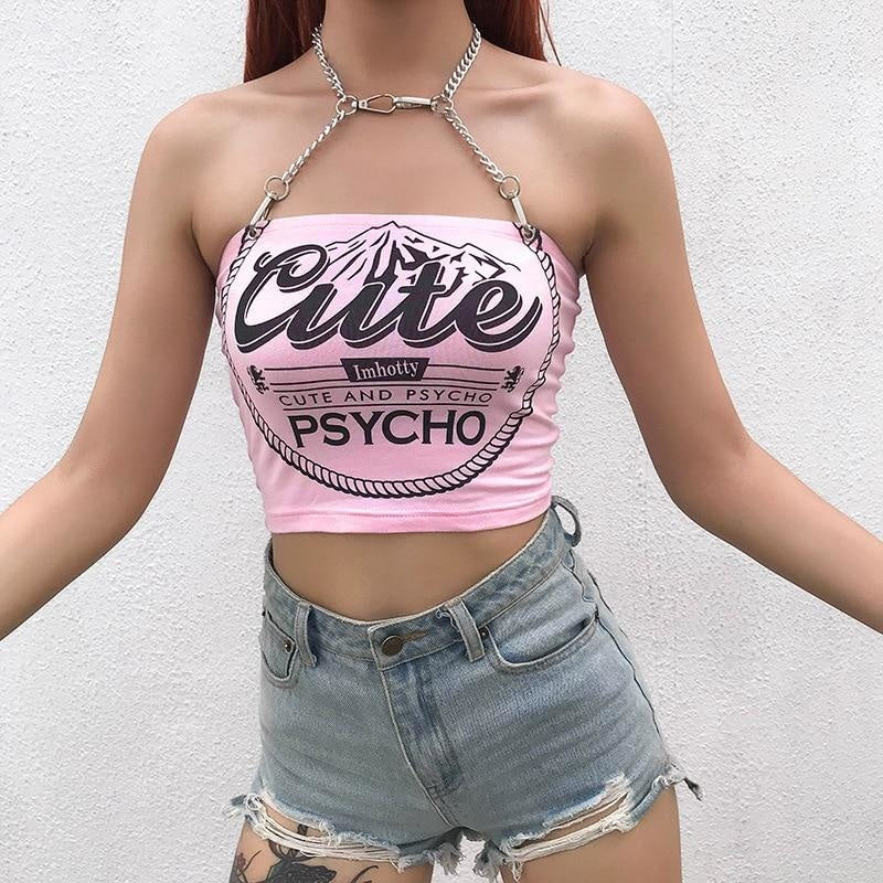 Cute & Psycho Halter Top - baby,belly shirt,belly shirts,belly tank,belly tee