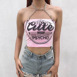 Cute & Psycho Halter Top - Pink / S - baby,belly shirt,belly shirts,belly tank,belly tee