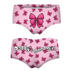 daddy's good girl pink bow panties undies lingerie underwear boy shorts daddy dom kink fetish age play dd/lg little space cgl by ddlg playground
