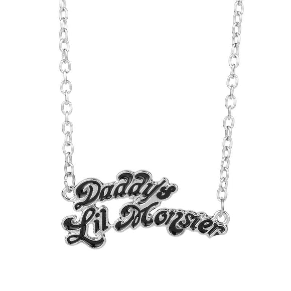 Daddy's Lil Monster Black Necklace Pendant Laser Cute harley Quinn Joker Costume Cosplay DD/LG Kink Fetish