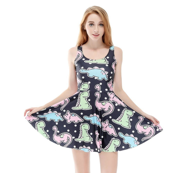 Pastel Goth Dinosaur Skater Dress Kawaii Fashion CGL ABDL Age Play Kink Kidcore T-Rex Stegosaurus by DDLG Playground