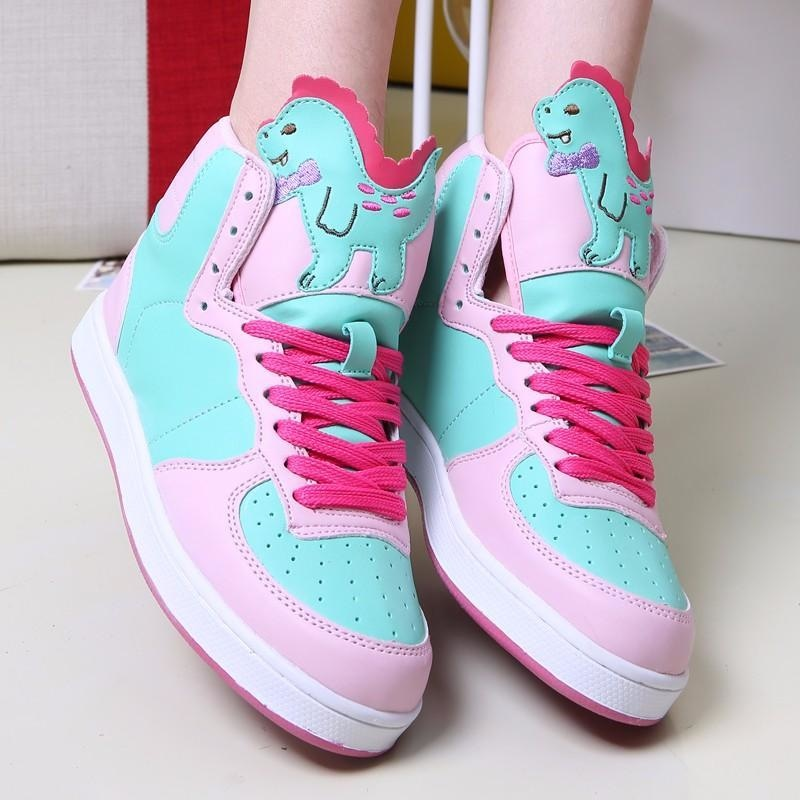 fairy kei pastel t-rex dinosaur green hi top sneakers high tops shoes candy colored sweet lolita yume kawaii harajuku japan fashion dd/lg cgl abdl age regression by ddlg playground