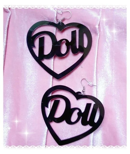 Doll Hoop Earrings - Black - earrings