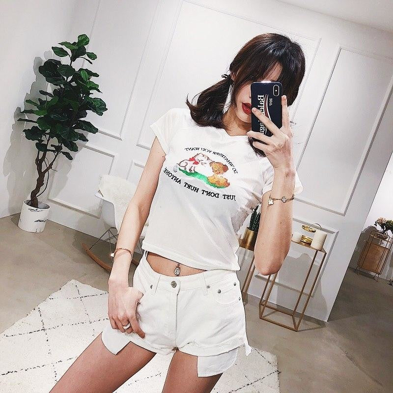 Do Whatever You Want Kawaii Cropped T-Shirt  Tee Top Belly Shirt Vintage 70s Kitsch Retro Don't Hurt Anyone