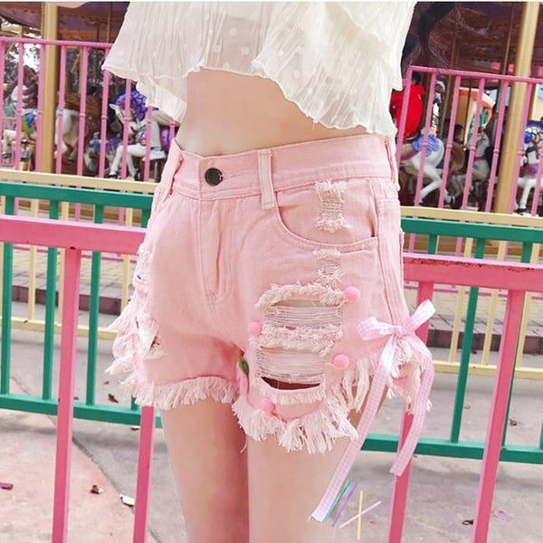 Pink Denim Strawberry Shorts Jeans Lolita Kawaii Fairy Kei Fashion
