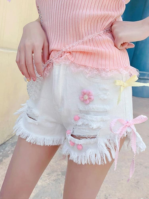 White Denim Strawberry Shorts Jeans Lolita Kawaii Fairy Kei Fashion