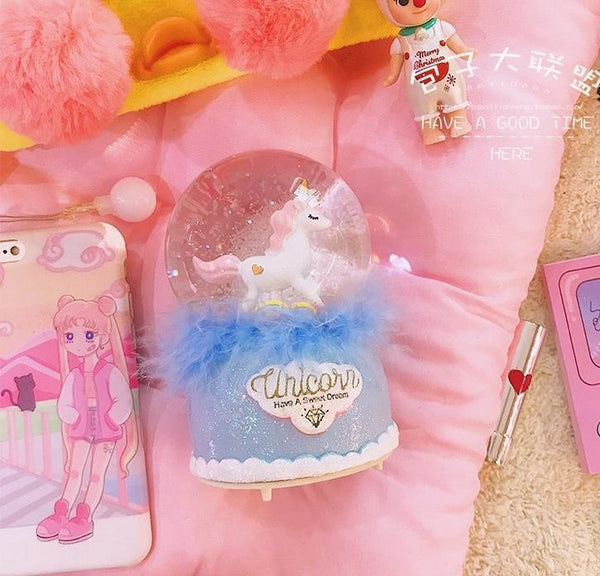 Kawaii Unicorn Music Box Carousel Snowglobe Fairy Kei Cute  Fur