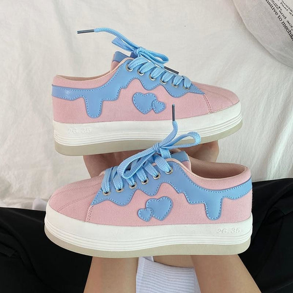 Drippy Sweetheart Sneakers - 9 - comfortable, fairy kei, kei sneakers, trainers, harajuku