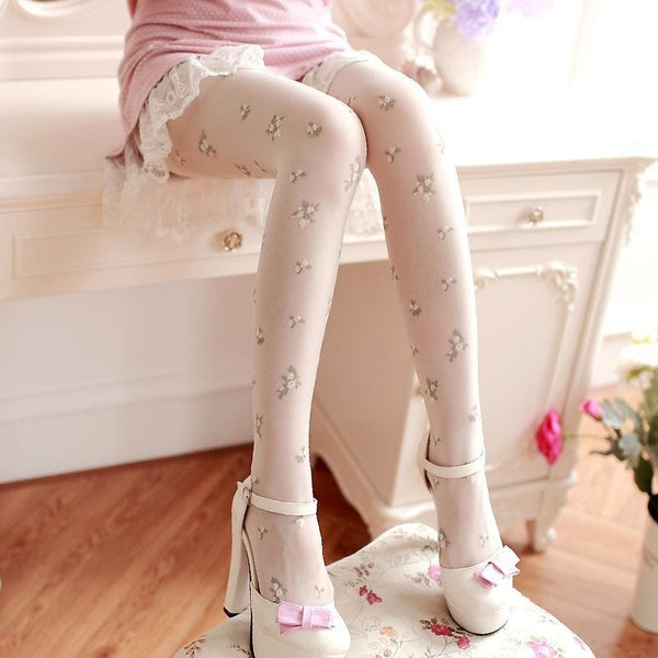 elegant floral rose bud tights nylons pantyhose royal elegance dainty lolita harajuku japan fashion by kawaii babe