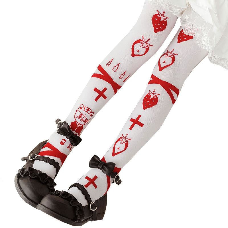 Emergency Berry Stockings - berries, berry, cats, doctor, harajuku