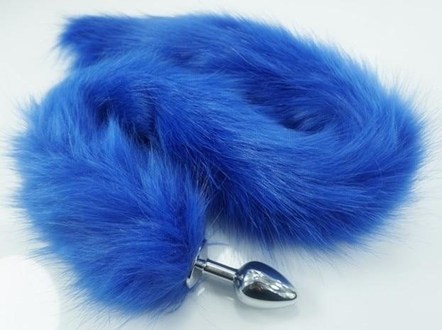 Extra Long Blue Furry Fox Tail Plugs Butt Plug Anal Beads Cat Tails Faux Vegan Fur Kink Fetish PetPlay Furries by DDLG Playground