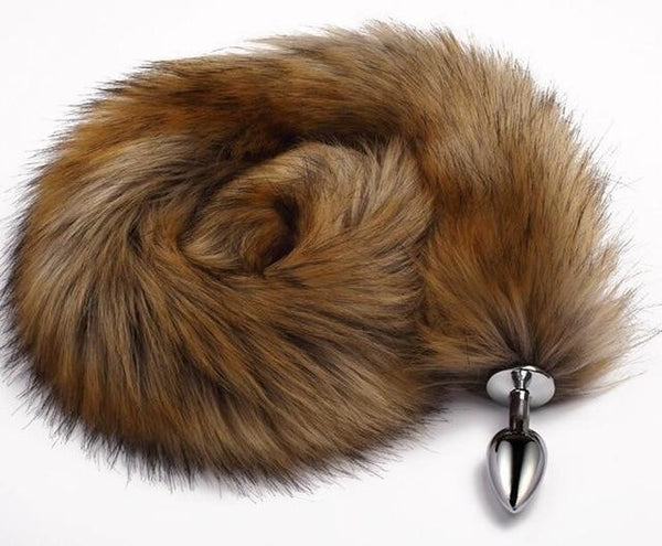 Extra Long Brown Furry Fox Tail Plugs Butt Plug Anal Beads Cat Tails Faux Vegan Fur Kink Fetish PetPlay Furries by DDLG Playground