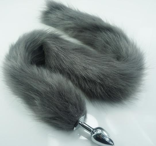 Extra Long Grey Furry Fox Tail Plugs Butt Plug Anal Beads Cat Tails Faux Vegan Fur Kink Fetish PetPlay Furries by DDLG Playground