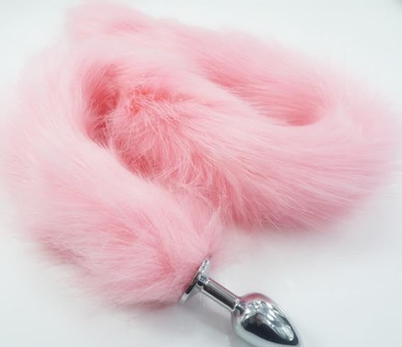 Extra Long Pink Furry Fox Tail Plugs Butt Plug Anal Beads Cat Tails Faux Vegan Fur Kink Fetish PetPlay Furries by DDLG Playground