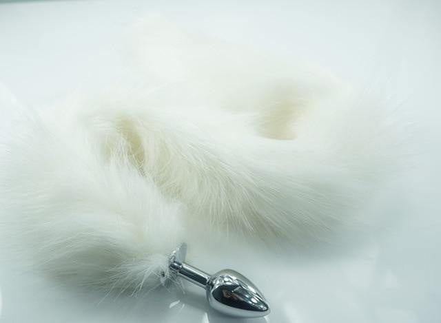 Extra Long White Furry Fox Tail Plugs Butt Plug Anal Beads Cat Tails Faux Vegan Fur Kink Fetish PetPlay Furries by DDLG Playground