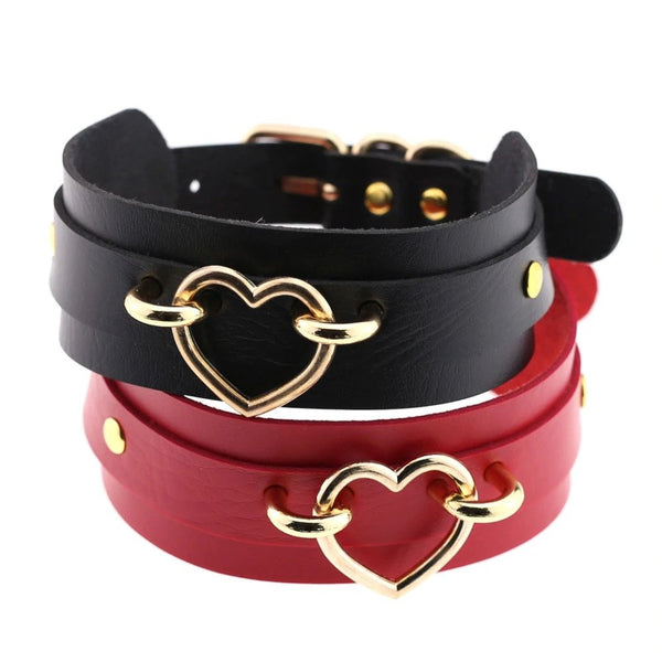 Vegan Leather Heart Collar
