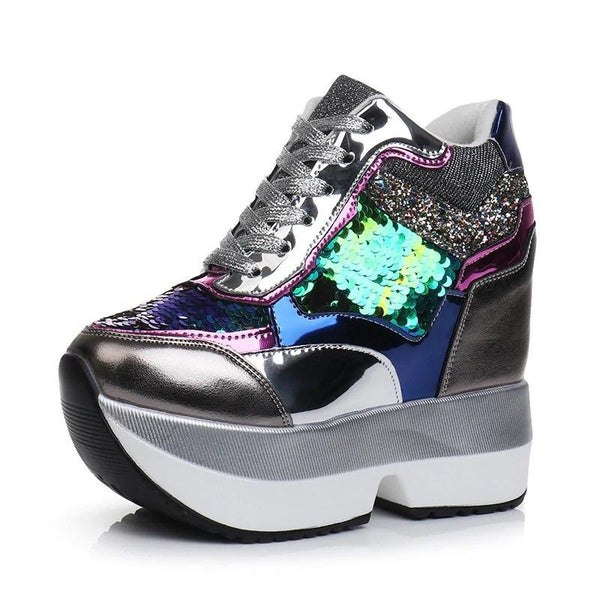 Sequin Platform Sneakers