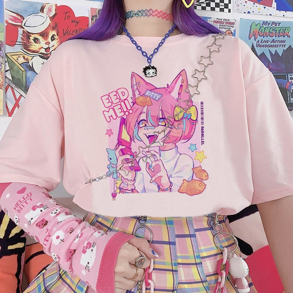 Feed Me Decora Baby Tee - Pink / M - cat, decora, decora girl, fairy kei, fairykei