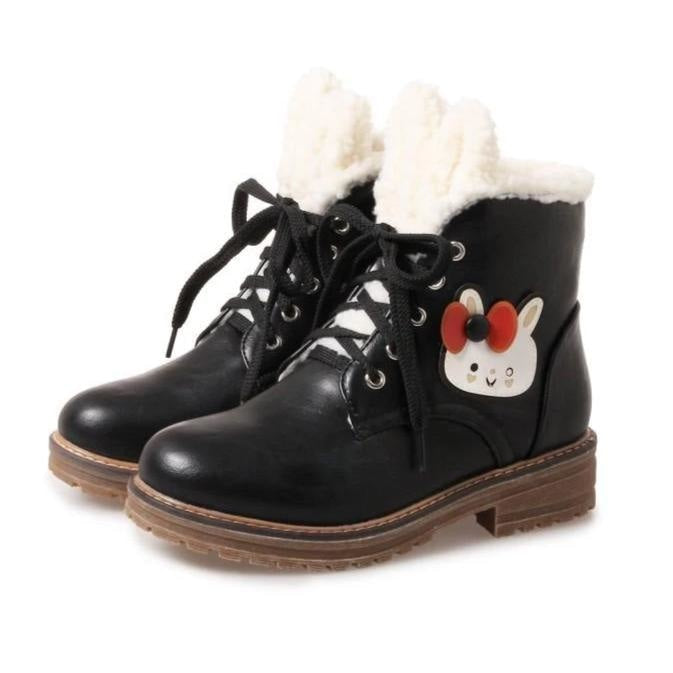 Fleecey Bunny Booties - Black / 12 - shoes