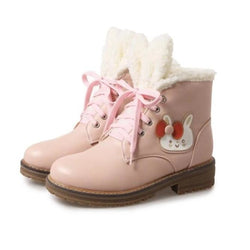 Fleecey Bunny Booties - Pink / 5 - shoes