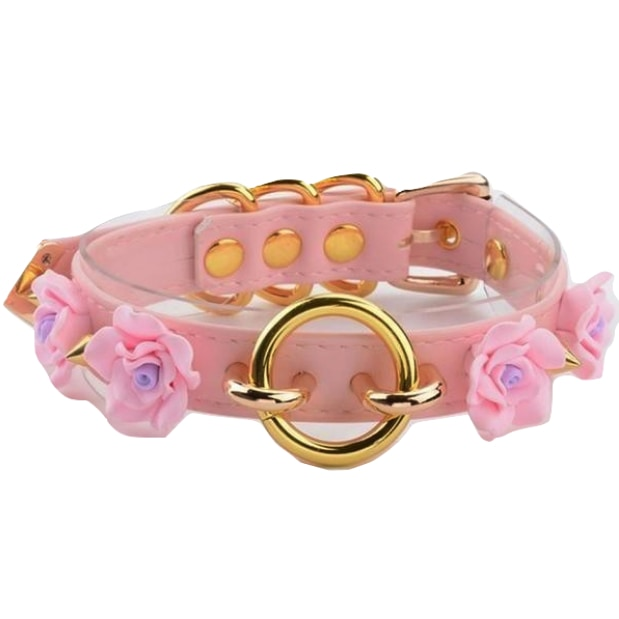 Floral O-ring Collar - Pink & Gold - choker