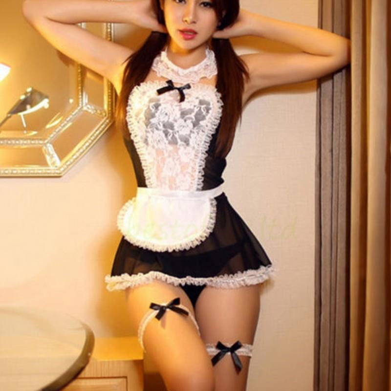 Sexy French Maid Costume Dress Lingerie Outfit Nightgown Black White Lace Slip