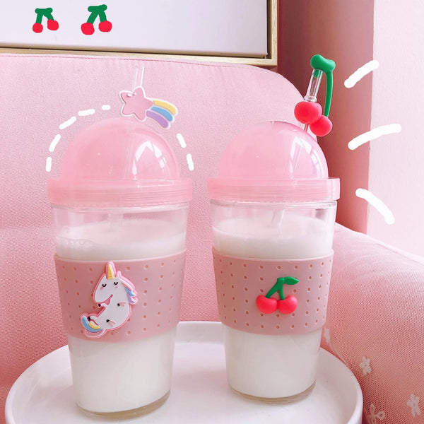 Fruit Straw Cherry Drinking Cup Water Bottle Glass Summer Cute Kawaii