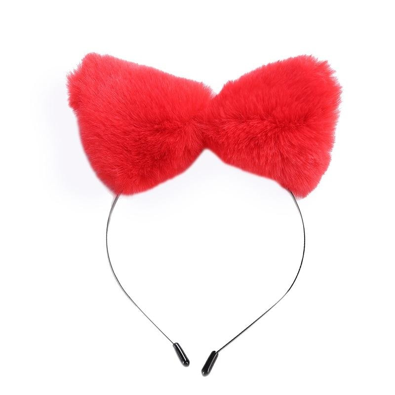Kawaii Red Cat Furry Fox Ear Headband Pet Play Little Pet Fetish Kinky Vegan Soft Fuzzy Ears