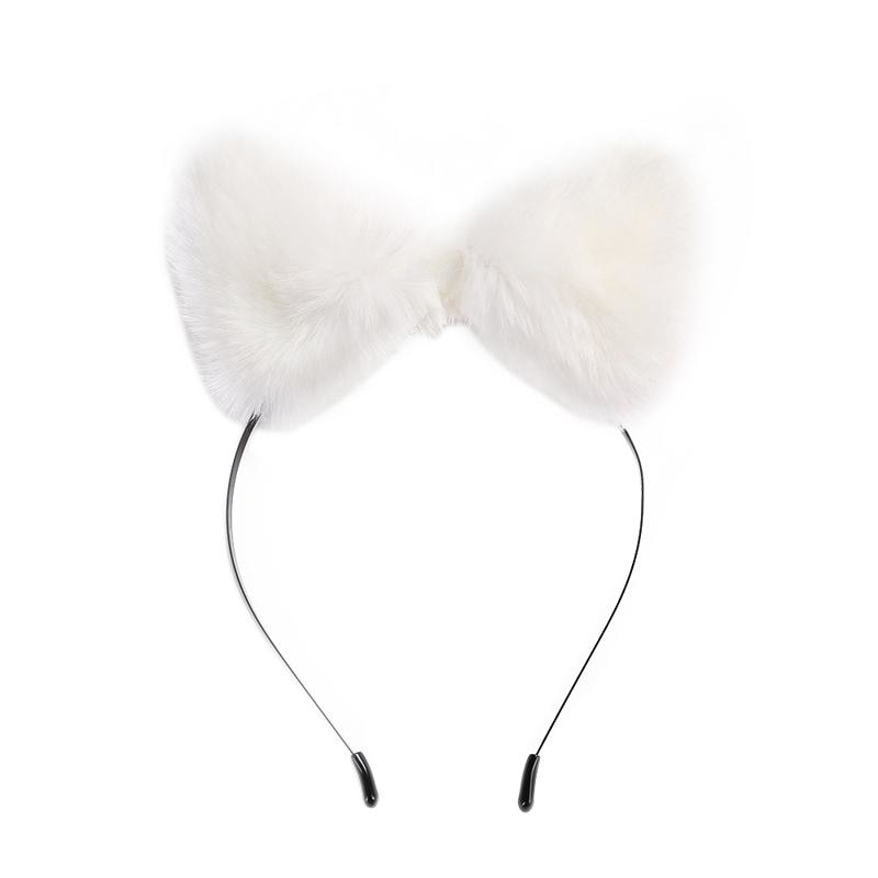 White Furry Cat Fox Ear Headband