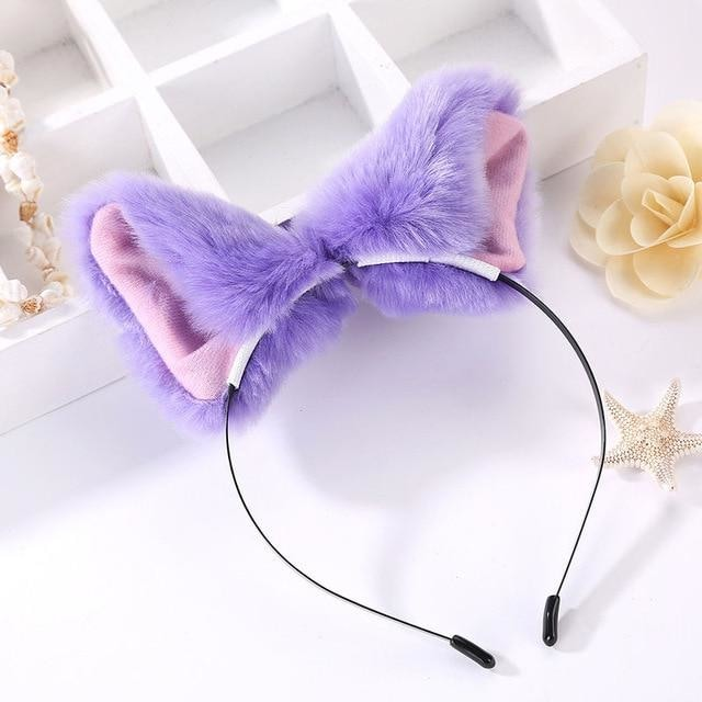 Kawaii Purple Furry Fox Ear Headband Pet Play Little Pet Fetish Kinky Vegan Soft Fuzzy Ears