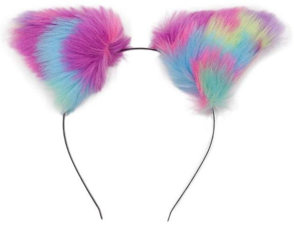 Furry Fox Ears - Rainbow Pastels - accessories