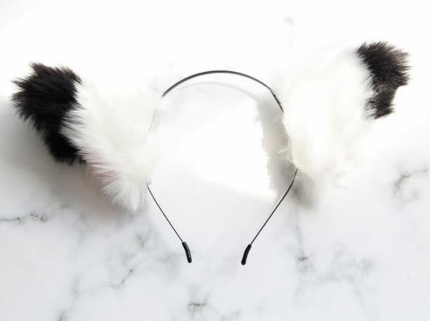 Furry Fox Ears - White w/ Black Tips - accessories