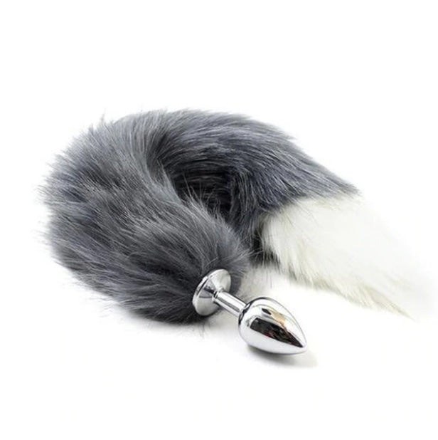 Furry Fox Tail (Many Colors) - Grey / White - Petplay