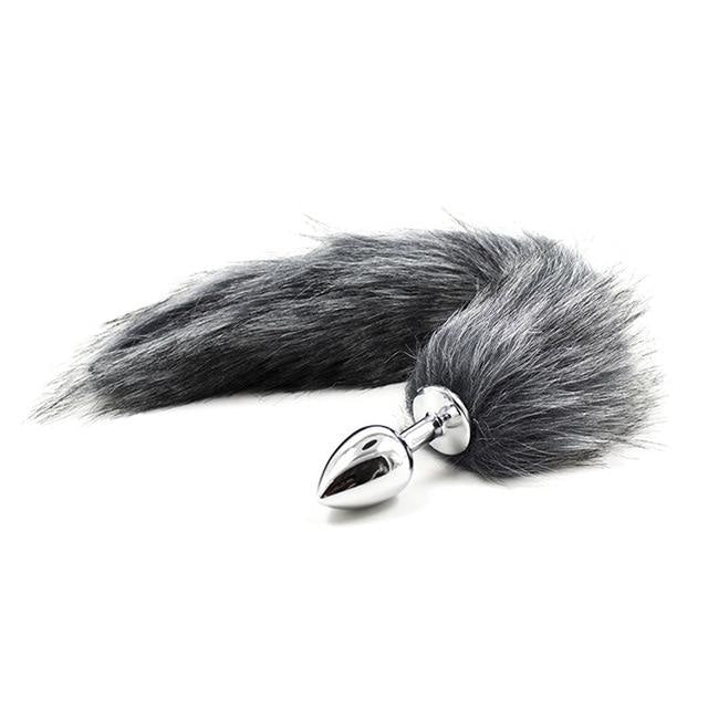 Furry Fox Tail (15 Color Choices!) - Grey - petplay