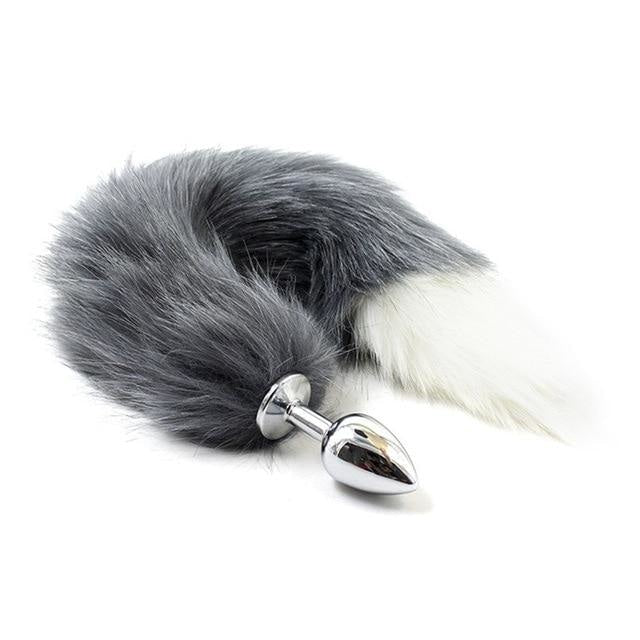 Furry Fox Tail (15 Color Choices!) - Grey w/ White Tip - petplay