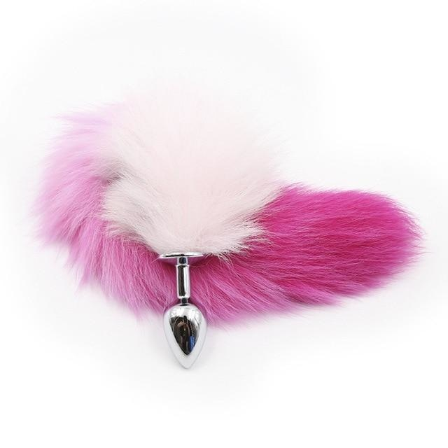 Furry Fox Tail (15 Color Choices!) - Pink Ombre - petplay