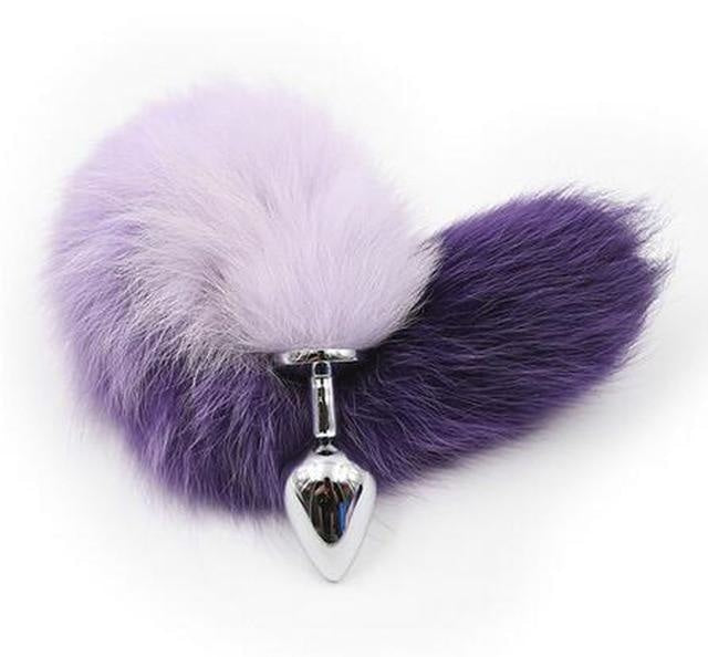 Furry Fox Tail (15 Color Choices!) - Purple Ombre - petplay