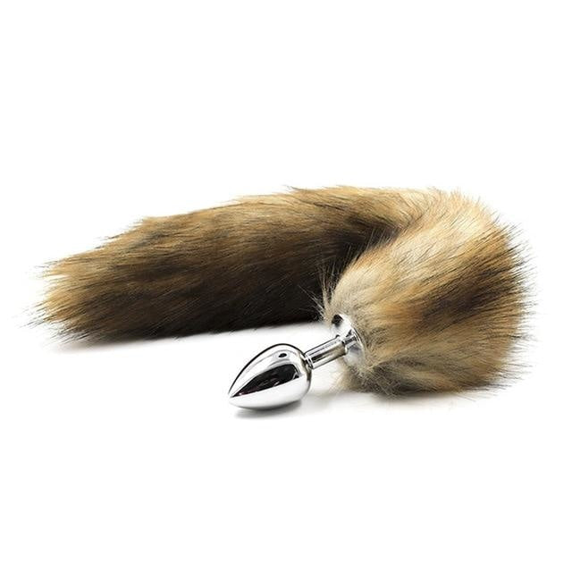 Furry Fox Tail (15 Color Choices!) - Real Brown Fur-Like - petplay
