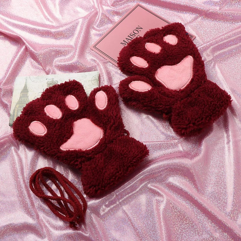 Kawaii Neko Cat Paw Gloves Mittens Fingerless Kitten Hands Cosplay Petplay