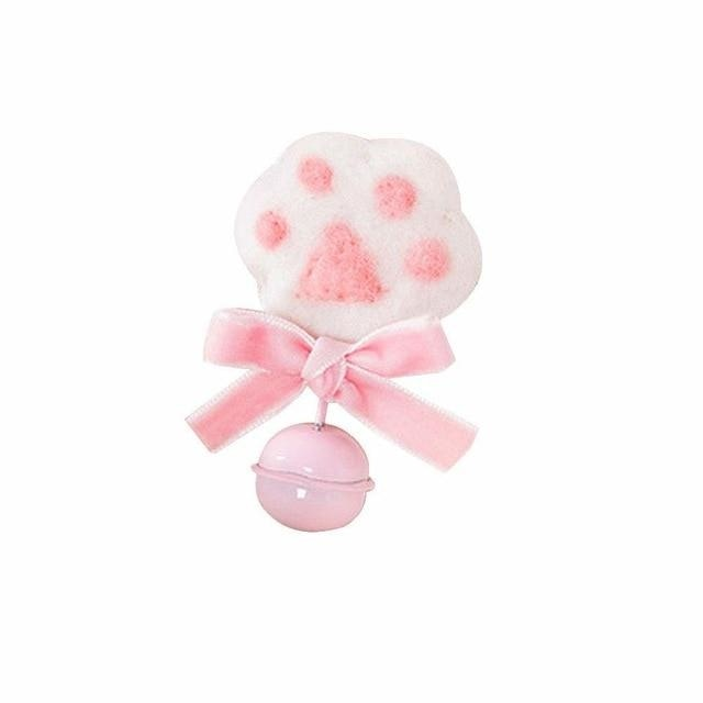 Pink White Fuzzy Furry Paw Print Hair Pin Lapel Brooch Bell Petplay Kink Fetish Kitten