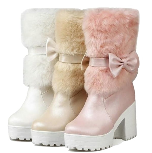 Furry Pink Bow Boots - ankle boots, baby pink, booties, chunky heels, faux fur