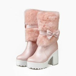 Furry Pink Bow Boots - 4 - ankle boots, baby pink, booties, chunky heels, faux fur