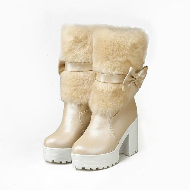 Furry Pink Bow Boots - Beige / 4 - ankle boots, baby pink, booties, chunky heels, faux fur