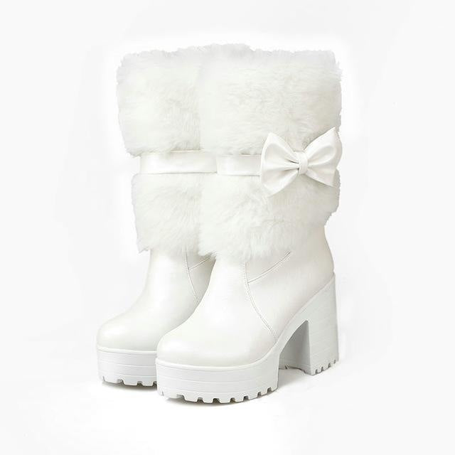 Furry Pink Bow Boots - White / 4 - ankle boots, baby pink, booties, chunky heels, faux fur