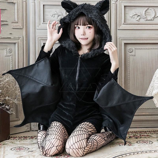 Fuzzy Black Bat Costume Set - bat ears, wing, bats, cosplay, cosplayer